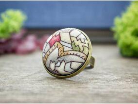 Ólomüveg textil gombos gyűrű