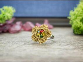 Horgolt színes gyöngyös gyerek gyűrű