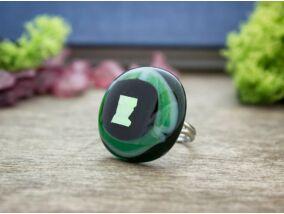Fekete a zöldben üveg gyűrű