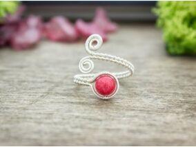 Rózsaszín jáde ezüst színű drót gyűrű