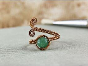 Aventurin réz drót gyűrű