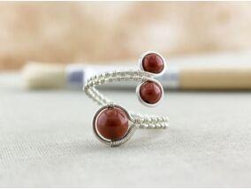 Jáspis ezüst színű drót gyűrű