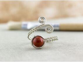 Jáspis ezüst drót gyűrű