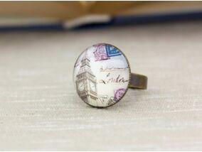 Üveglencsés Big Ben London gyűrű