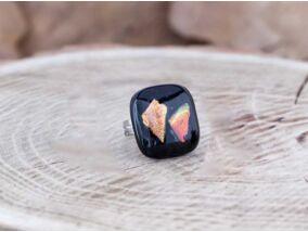 Fekete csillogás üveg gyűrű