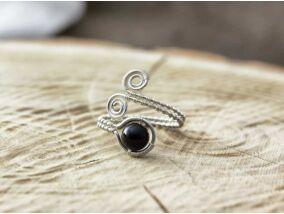 Ónix ezüst színű drót gyűrű