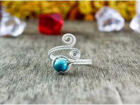 Türkiz ezüst színű drót gyűrű