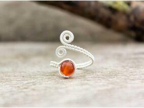 Karneol ezüst színű drót gyűrű