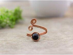 Ónix réz drót gyűrű