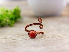 Karneol réz drót gyűrű