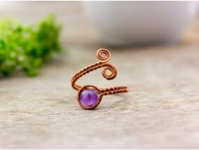 Ametiszt réz drót gyűrű