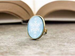 Üveglencsés hópehely karácsonyi gyűrű