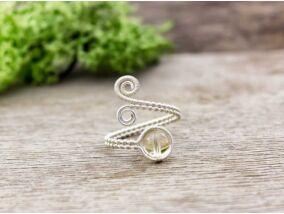Citrin ezüst színű drót gyűrű