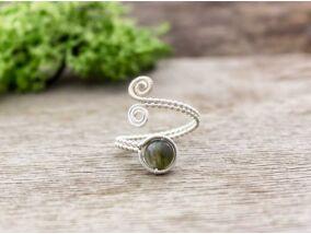 Labradorit ezüst színű drót gyűrű