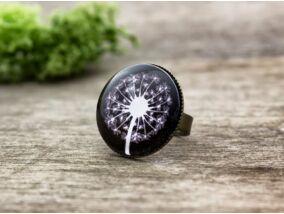 Üveglencsés pitypang motívumos gyűrű