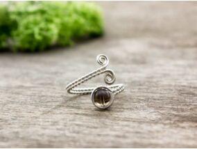 Füstkvarc ezüst színű drót gyűrű
