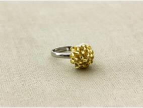 Horgolt sárga gyöngyös gyerek gyűrű