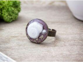 Műgyanta préselt virágos bújós csiga gyűrű