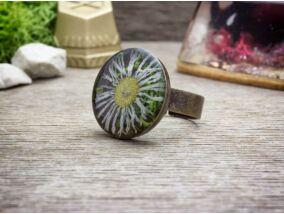 Műgyanta préselt virágos kócos százszorszép gyűrű