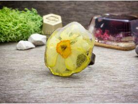 Műgyanta préselt nárcisz virágos gyűrű