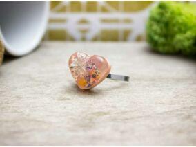 Műgyanta préselt vintage szív virágos acél gyűrű