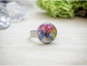 Üde tavaszi virágok öntött műgyanta gyűrű