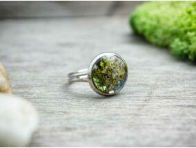 Műgyanta préselt virágos zuzmó gyűrű