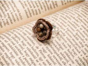 Horgolt képjáspis virág gyűrű