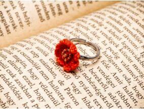 Horgolt narancssárga gyerek gyűrű