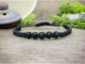 Fekete makramé karkötő fekete üveg gyöngyökkel