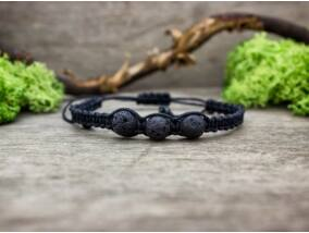 Fekete makramé karkötő lávakő gyöngyökkel