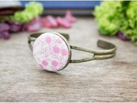 Rózsaszín kertem textil gombos karperec