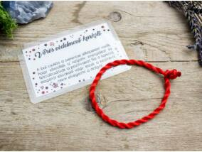 Kabbala védelmező vörös textil karkötő kártyával
