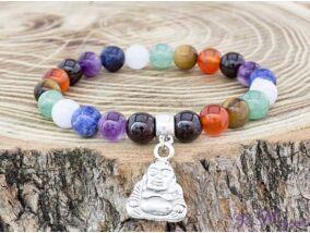 Budha medálos csakra ásvány karkötő