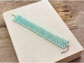 Kék rácsos gyöngy karkötő
