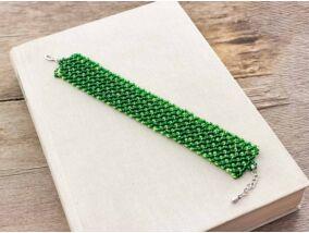 Zöld rácsos gyöngy karkötő