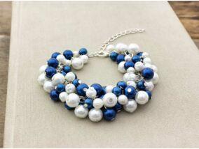 Bubble tekla gyöngyös kék és fehér karkötő