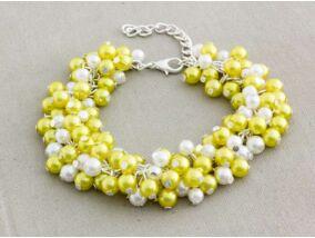 Bubble tekla gyöngyös sárga és fehér karkötő