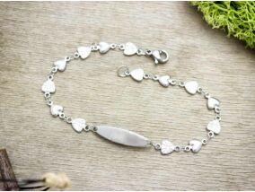 Ezüst színű gravírozható  szívecskés acél karkötő