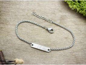 Ezüst színű gravírozható acél karkötő