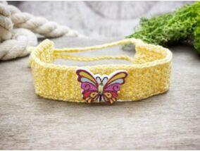 Sárga pillangós gombos horgolt gyermek karkötő