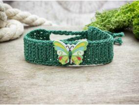 Zöld pillangós gombos horgolt gyermek karkötő