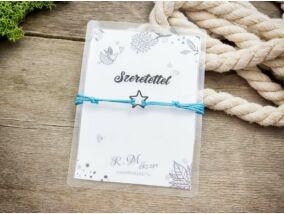 Szeretettel kék csillag medálos kívánság karkötő