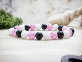 Pink szeretetet vegyes ásvány karkötő