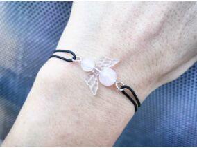 Szerelem angyala gumis rózsakvarc ásvány karkötő
