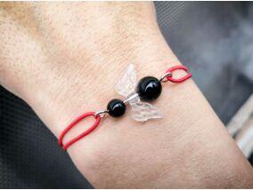 Védelmező angyal piros gumis ónix ásvány karkötő