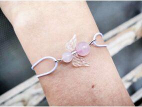 Szerelem angyala fehér gumis rózsakvarc ásvány karkötő