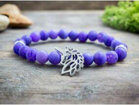Csillogó póni lila achát ásvány karkötő