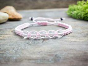 Hegyikristály rózsaszín makramé karkötő