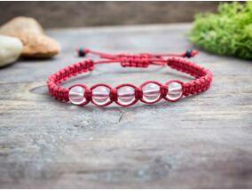 Hegyikristály piros makramé karkötő